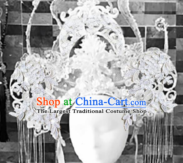 Top Grade Halloween Catwalks Headdress Brazilian Carnival White Lace Hair Accessories for Women