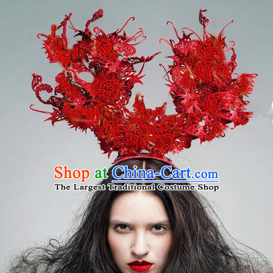 Top Grade Halloween Catwalks Hair Accessories Headdress Palace Red Lace Top Hat for Women