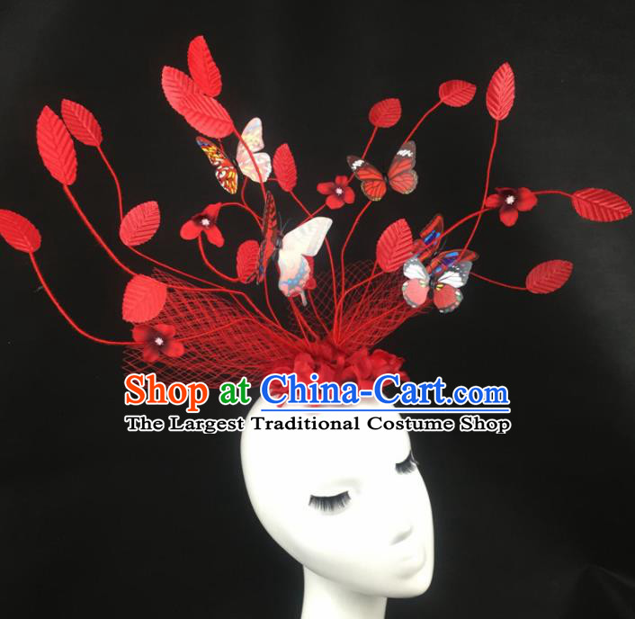 Top Grade Halloween Catwalks Headdress Brazilian Carnival Red Leaf Butterfly Hair Accessories for Women