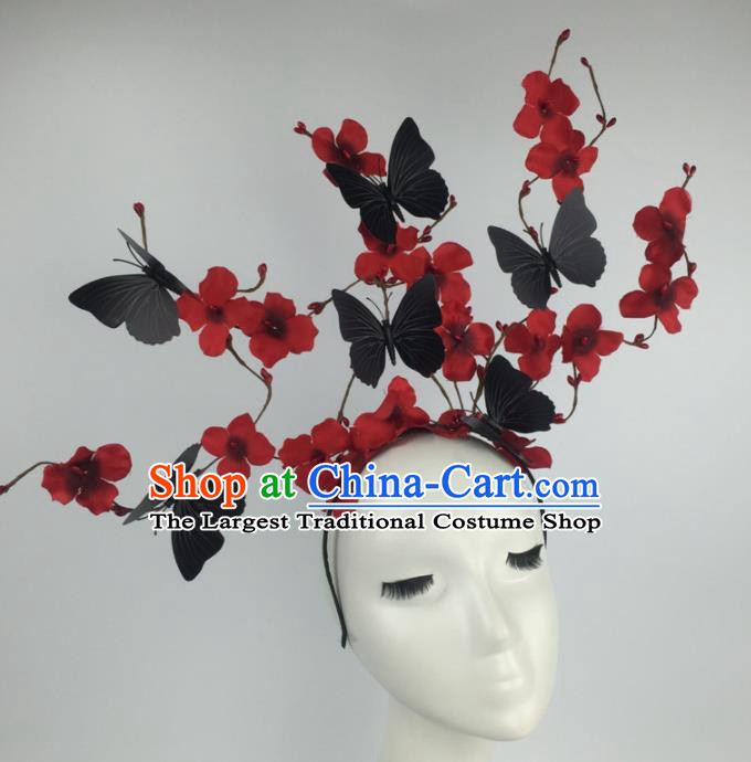Top Grade Halloween Catwalks Headdress Brazilian Carnival Black Butterfly Flowers Hair Accessories for Women