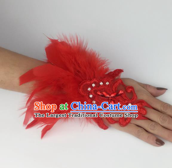 Top Grade Halloween Catwalks Wristlet Accessories Brazilian Carnival Red Feather Bracelet for Women