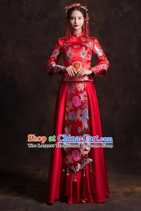Chinese Traditional Red Satin Xiuhe Suits Ancient Bride Embroidered Wedding Dress for Women