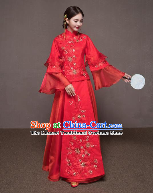 Chinese Traditional Xiuhe Suits Embroidered Wedding Costumes Ancient Bride Dress for Women