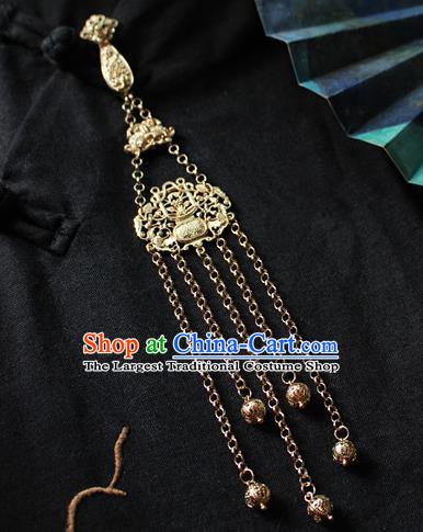 Chinese Classical Jewelry Accessories Traditional Hanfu Golden Brooch Tassel Pendant for Women