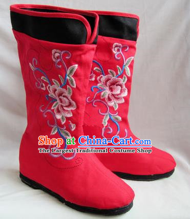 Asian Chinese Traditional Hanfu Shoes Ethnic Handmade Embroidered Red Boots for Women