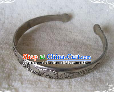 Chinese Traditional National Accessories Ethnic Carving Dragons Bracelet for Women