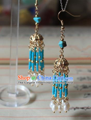 Asian Chinese Traditional Jewelry Accessories Ancient Hanfu Pearls Tassel Earrings for Women