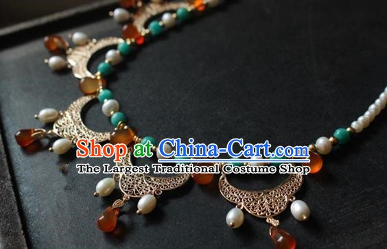 Asian Chinese Traditional Jewelry Accessories Ancient Hanfu Agate Necklace for Women