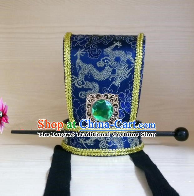 Chinese Traditional Hanfu Headdress Ancient Han Dynasty Emperor Tuinga Blue Hairdo Crown for Men