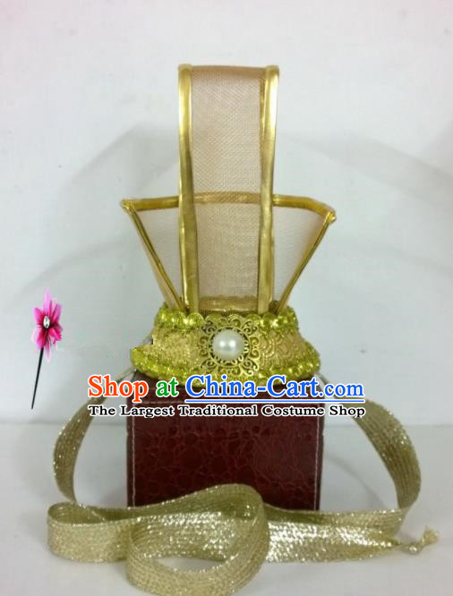 Chinese Traditional Hanfu Headdress Ancient Han Dynasty Emperor Tuinga Golden Hairdo Crown for Men