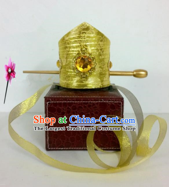 Chinese Traditional Hanfu Headdress Ancient Tang Dynasty Emperor Golden Hairdo Crown for Men