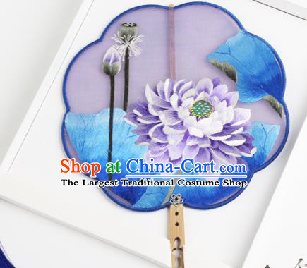 Traditional Chinese Crafts Palace Fans Silk Round Fans Ancient Princess Embroidered Purple Lotus Fan for Women