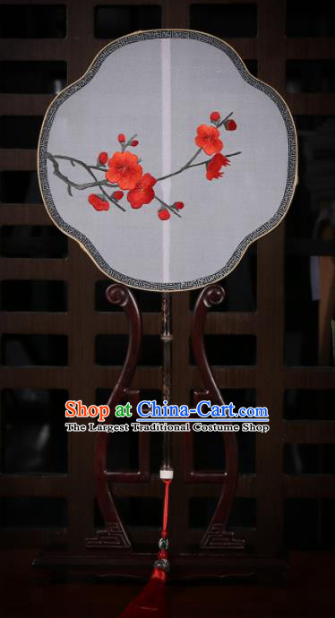Traditional Chinese Crafts Palace Fans Embroidered Red Wintersweet Silk Fans Ancient Fan for Women