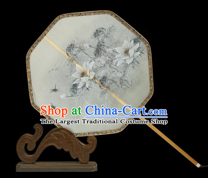 Traditional Chinese Crafts Palace Fans Printing White Lotus Fans Ancient Silk Fan for Women