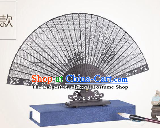 Chinese Traditional Crafts Sandalwood Folding Fans Pierced Fans Accordion Fan