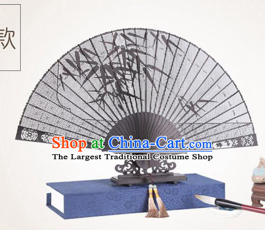 Chinese Traditional Crafts Sandalwood Folding Fans Pierced Bamboo Fans Accordion Fan
