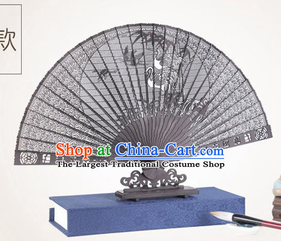 Chinese Traditional Crafts Sandalwood Folding Fans Pierced Cranes Fans Accordion Fan