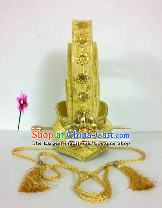 Chinese Traditional Hanfu Headdress Ancient Prince Golden Hairdo Crown for Men
