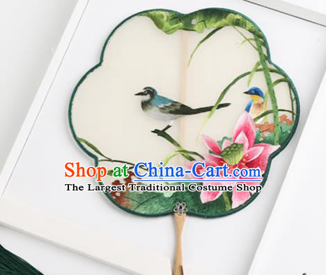 Traditional Chinese Crafts Palace Fans Round Fans Ancient Princess Embroidered Lotus Fan for Women