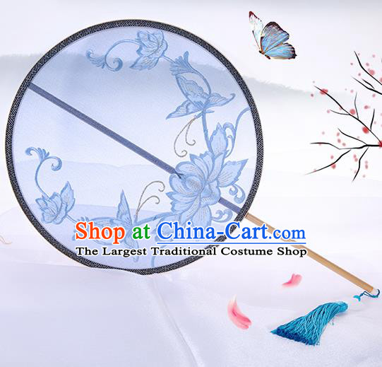 Traditional Chinese Crafts Palace Fans Embroidered Lotus Butterfly Round Fans Ancient Silk Fan for Women