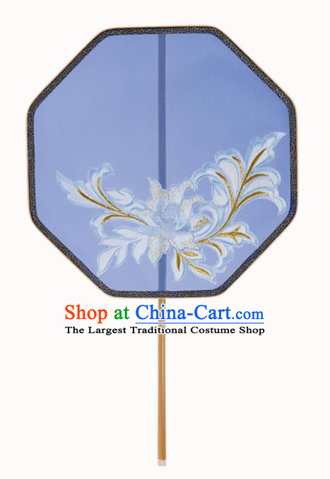 Traditional Chinese Crafts Palace Fans Embroidered Blue Fans Ancient Silk Fan for Women