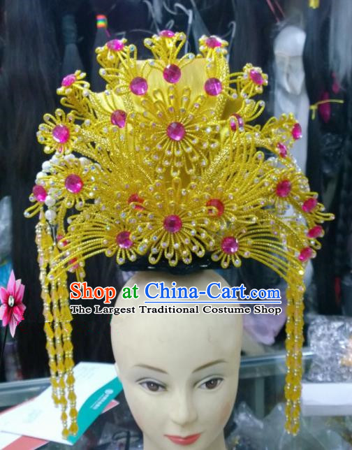 Chinese Classical Queen Hair Accessories Traditional Ancient Beijing Opera Golden Phoenix Coronet for Women