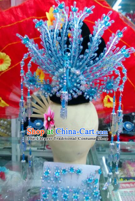 Chinese Classical Beijing Opera Princess Hair Accessories Traditional Ancient Blue Phoenix Coronet for Women