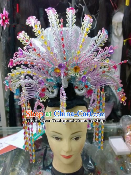 Chinese Classical Beijing Opera Princess Hair Accessories Traditional Ancient Colorful Beads Phoenix Coronet for Women