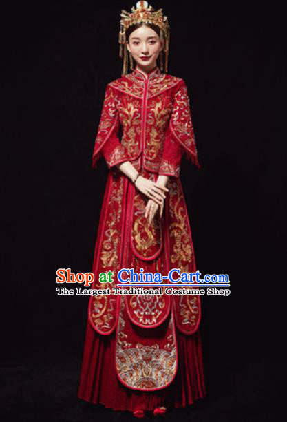 Chinese Traditional Embroidered Phoenix Red Xiuhe Suits Ancient Bride Wedding Dress for Women