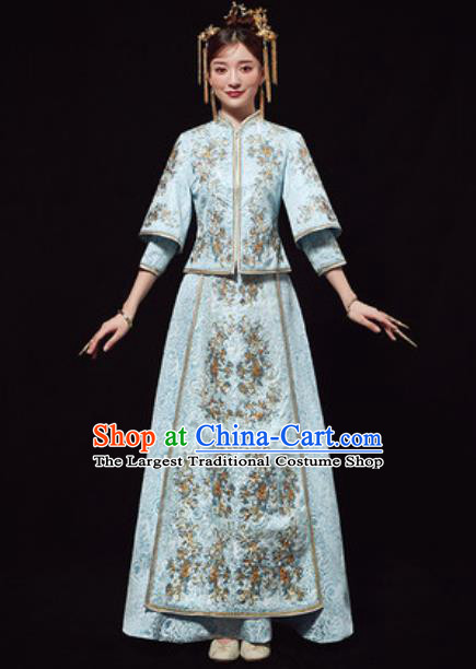 Chinese Traditional Wedding Costumes Blue Xiuhe Suits Ancient Bride Embroidered Dress for Women