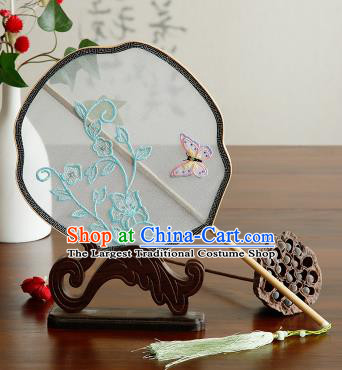 Traditional Chinese Crafts Palace Fans Embroidered Butterfly Fans Ancient Organza Fan for Women