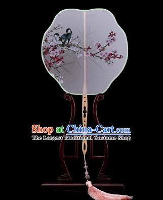 Traditional Chinese Crafts Palace Fans Hand Painting Wintersweet Fans Ancient Silk Fan for Women