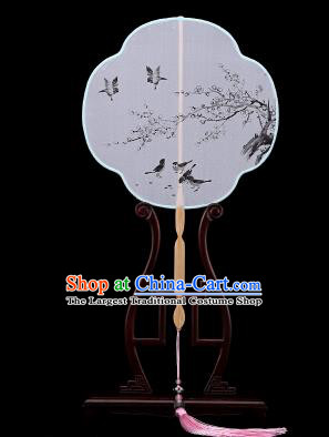 Traditional Chinese Crafts Palace Fans Hand Painting Wintersweet Fans Ancient White Silk Fan for Women