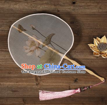 Traditional Chinese Crafts Palace Fans Hand Painting Lotus Fans Ancient Silk Fan for Women