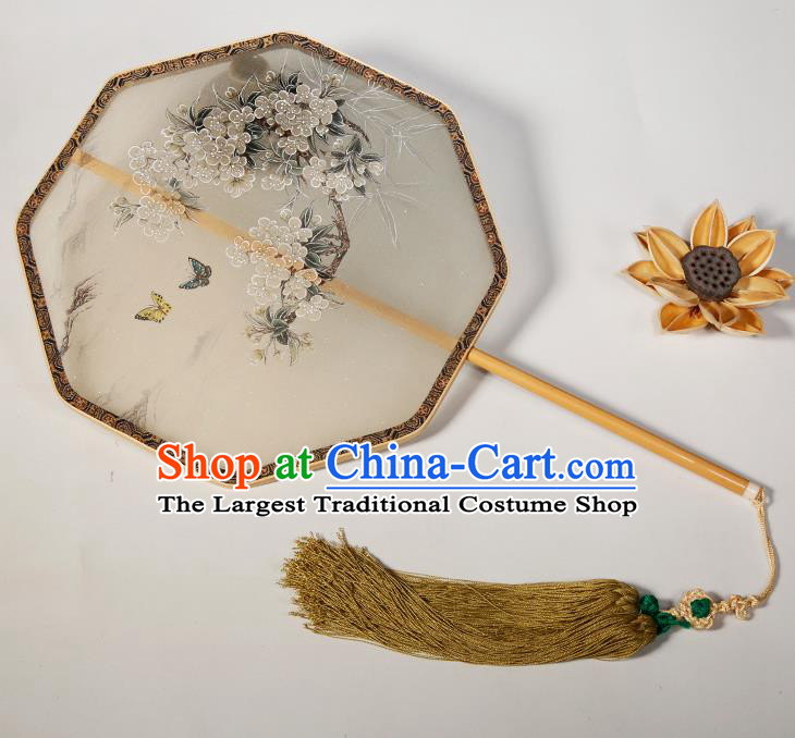 Chinese Traditional Hanfu Palace Fans Hand Painting Orchid Fans Ancient Silk Round Fan for Women