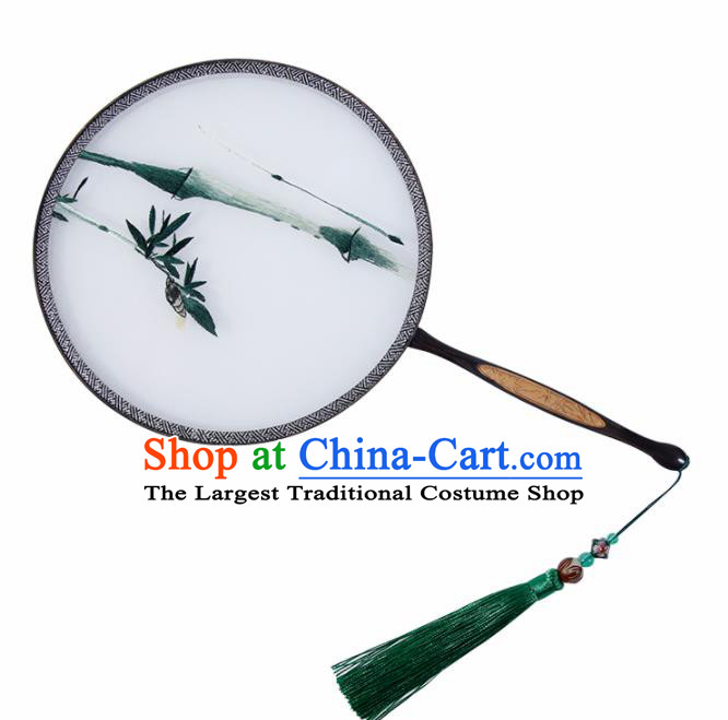 Chinese Traditional Palace Fans Embroidered Bamboo Fans Ancient Hanfu Silk Round Fan for Women