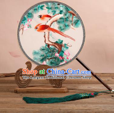 Chinese Traditional Palace Fans Embroidered Birds Fans Ancient Hanfu Silk Fan for Women