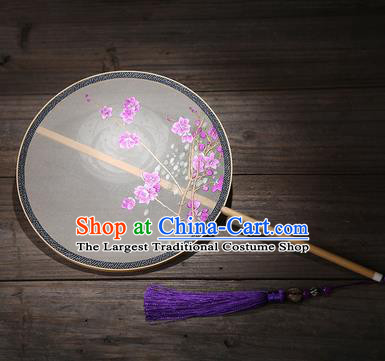 Chinese Traditional Palace Fans Embroidered Purple Flowers Fans Ancient Hanfu Silk Fan for Women