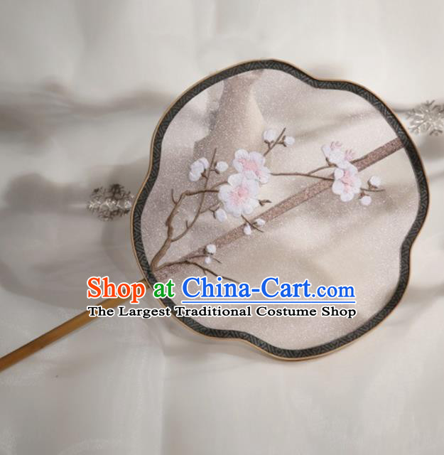 Chinese Traditional Palace Fans Hanfu Embroidered White Wintersweet Round Fans Ancient Silk Fan for Women