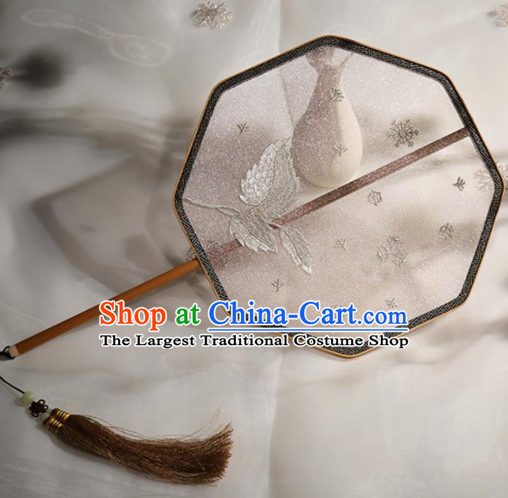 Chinese Traditional Palace Fans Hanfu Embroidered Leaf Fans Ancient Silk Fan for Women