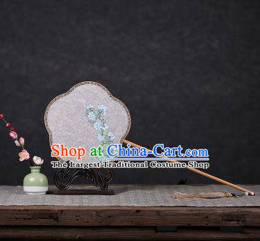 Chinese Traditional Palace Fans Hanfu Hand Painting Round Fans Ancient White Silk Fan for Women