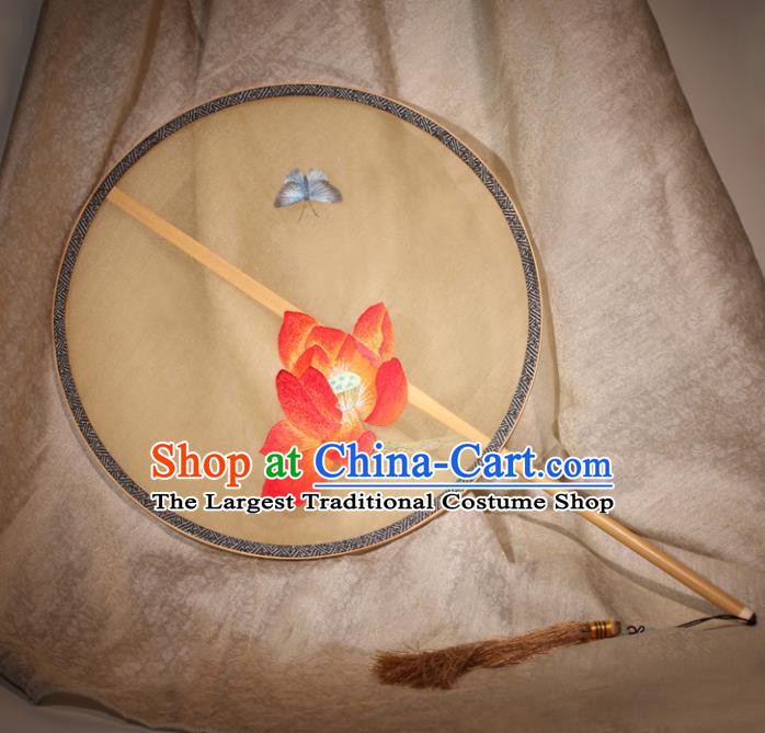 Chinese Ancient Traditional Palace Fans Hanfu Embroidered Lotus Round Fans Silk Fan for Women