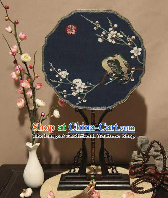 Chinese Ancient Traditional Palace Fans Hanfu Embroidered Round Fans Pure Silk Fan for Women