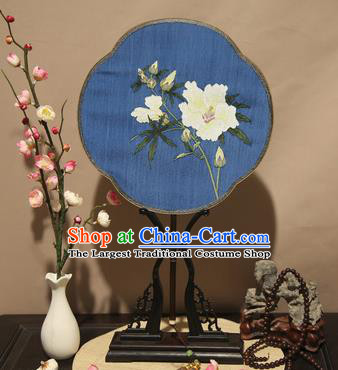 Chinese Ancient Traditional Palace Fans Princess Blue Fan Hanfu Pure Silk Fans for Women