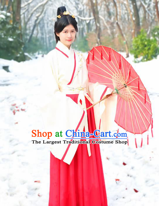 Chinese Ancient Hanfu Dress Traditional Han Dynasty Princess Embroidered Costumes for Women