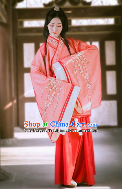Chinese Traditional Han Dynasty Red Hanfu Dress Ancient Drama Princess Embroidered Costumes for Women