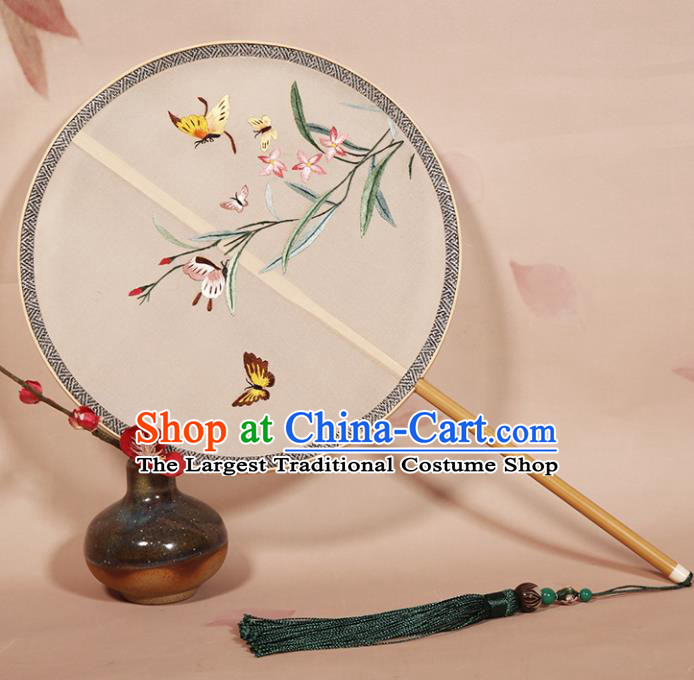 Chinese Ancient Princess Palace Fan Traditional Embroidered Orchid Hanfu Silk Round Fans for Women