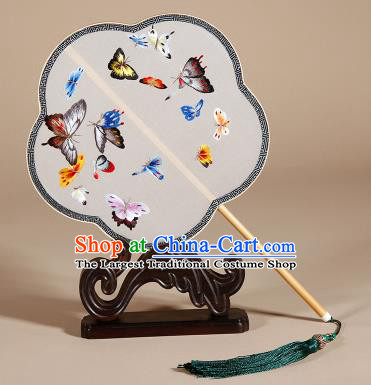 Chinese Ancient Princess Palace Fan Traditional Embroidered Butterfly Hanfu Silk Round Fans for Women