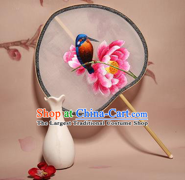 Chinese Ancient Princess Palace Fan Traditional Embroidered Lotus Hanfu Silk Round Fans for Women