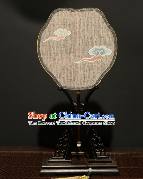 Chinese Ancient Princess Palace Fan Traditional Hanfu Weaving Clouds Silk Fans for Women